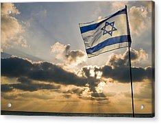 Israeli Flag And Sunset Acrylic Print by Daniel Blatt