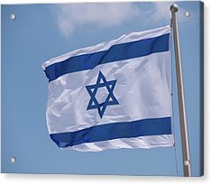 Israeli Flag In The Wind Acrylic Print