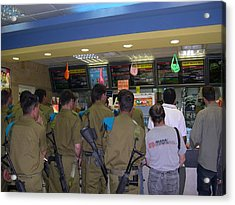 Israeli Soldiers Stop At A Kosher Mcdonald's Acrylic Print by Susan Heller