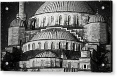 Istanbul Blue Mosque - Charcoal  Sketch Acrylic Print