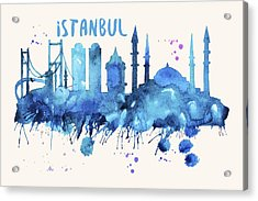 Istanbul Skyline Watercolor Poster - Cityscape Painting Artwork Acrylic Print