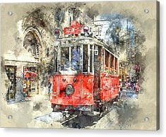 Istanbul Turkey Red Trolley Digital Watercolor On Photograph Acrylic Print