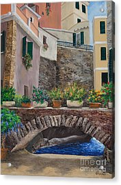 Italian Arched Bridge With Flower Pots Acrylic Print by Charlotte Blanchard