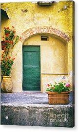 Acrylic Print featuring the photograph Italian Facade With Geraniums by Silvia Ganora