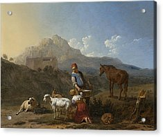 Italian Landscape With Girl Milking A Goat Acrylic Print by Karel Dujardin