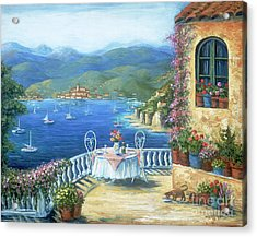 Italian Lunch On The Terrace Acrylic Print by Marilyn Dunlap