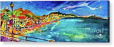 Acrylic Print featuring the painting Italian Riviera Coastline Ocean View by Ginette Callaway