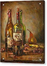 Italian Wine Bottles Acrylic Print by Brenda Brannon