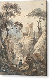 Italianate Landscape With Castle, Cascade And Anglers Acrylic Print by Paul Sandby