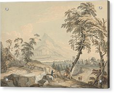 Italianate Landscape With Travelers, No. 1 Acrylic Print by Paul Sandby