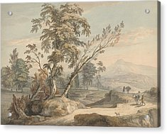 Italianate Landscape With Travellers No. 2 Acrylic Print by Paul Sandby