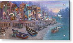 Italy Tuscan Decor Painting Seascape Village By The Sea Acrylic Print