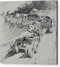 Acrylic Print featuring the drawing Italy 1943. by Mike Jeffries