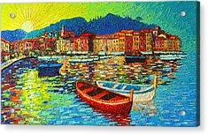 Italy Portofino Harbor Sunrise Modern Impressionist Palette Knife Oil Painting By Ana Maria Edulescu Acrylic Print