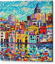 Italy Procida Island Marina Corricella Naples Bay Palette Knife Oil Painting By Ana Maria Edulescu Acrylic Print