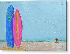 It's A Date - Surf Boards At The Beach - Modern Impressionist Knife Palette Oil Painting Acrylic Print