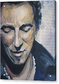 It's Boss Time II - Bruce Springsteen Portrait Acrylic Print by Khairzul MG