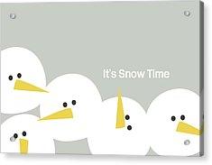 It's Snow Time Snow Heads- Art By Linda Woods Acrylic Print