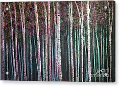 I'ts Twilight Birches Acrylic Print by Heather McKenzie