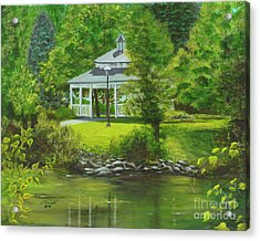 Acrylic Print featuring the painting Ives Park Gazebo by Judy Filarecki