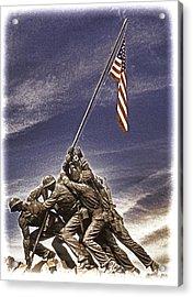 Iwo Jima Flag Raising Acrylic Print by Dennis Cox