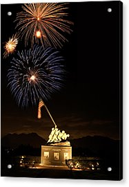 Iwo Jima Flag Raising Acrylic Print by Michael Peychich