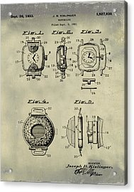 J B Kislinger Watch Patent 1933 Weathered Acrylic Print