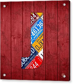 J License Plate Letter Art Red Background Acrylic Print by Design Turnpike