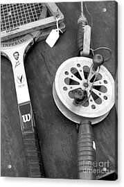 Jack Kramer Wood Racket And Ancient Rod And Reel Acrylic Print by David Bearden