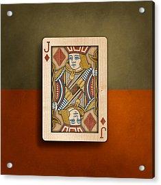 Jack Of Diamonds In Wood Acrylic Print by YoPedro