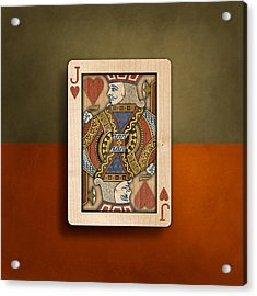 Jack Of Hearts In Wood Acrylic Print