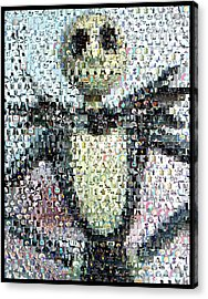 Jack Skellington Mosaic Acrylic Print by Paul Van Scott