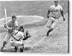 Jackie Robinson Stealing Home Yogi Berra Catcher In 1st Game 1955 World Series Acrylic Print