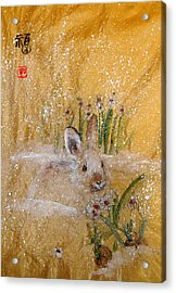 Acrylic Print featuring the painting Jackies New Year Rabbit by Debbi Saccomanno Chan