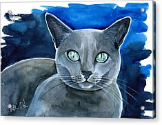 Jackpot - Russian Blue Cat Painting Acrylic Print