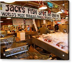 Jacks Fish Spot And Crab Pot-seattle Pike Place Market Acrylic Print by Candace Garcia