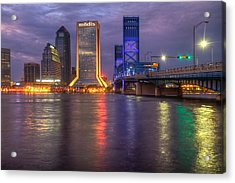 Jacksonville At Dusk Acrylic Print by Debra and Dave Vanderlaan