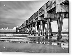 Jacksonville Beach Pier In Black And White Acrylic Print