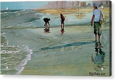 Acrylic Print featuring the painting Jacksonville Shell Hunt by Jeffrey S Perrine