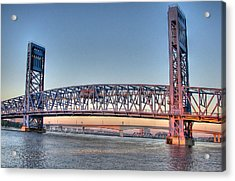Jacksonville's Blue Bridge At Sunrise Acrylic Print by Farol Tomson
