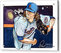 Jacob Degrom Of The New York Mets Acrylic Print by Dave Olsen