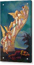 Acrylic Print featuring the painting Jacob's Ladder - Jacob's Dream by Svitozar Nenyuk