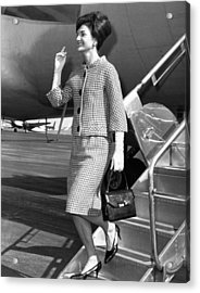 Jacqueline Kennedy Deplanes In New York Acrylic Print by Everett