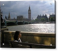 Jade On Thames Acrylic Print by Devin Hyde