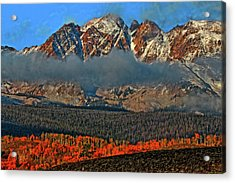 Acrylic Print featuring the photograph Jagged Peaks Fall by Scott Mahon