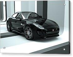 Jaguar F-type - Black Retro Acrylic Print