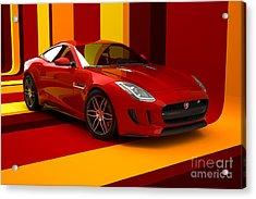 Jaguar F-type - Red Retro Acrylic Print