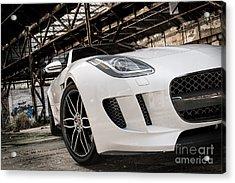 Jaguar F-type - White - Front Close-up Acrylic Print