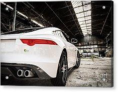 Jaguar F-type - White - Rear Close-up Acrylic Print