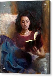 Jaidyn Reading A Book 1 - Portrait Of Young Woman - Girls Who Read - Books In Art Acrylic Print